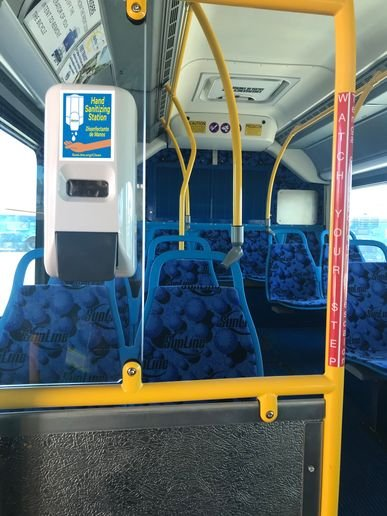 SunLine has completed the installation of hand sanitizing stations on each bus in service on the roadway. - SunLine