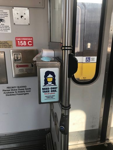 The mask and hand sanitizer dispensers are in addition to DART's aggressive agency-wide cleaning and safety protocols in response to the coronavirus. - DART