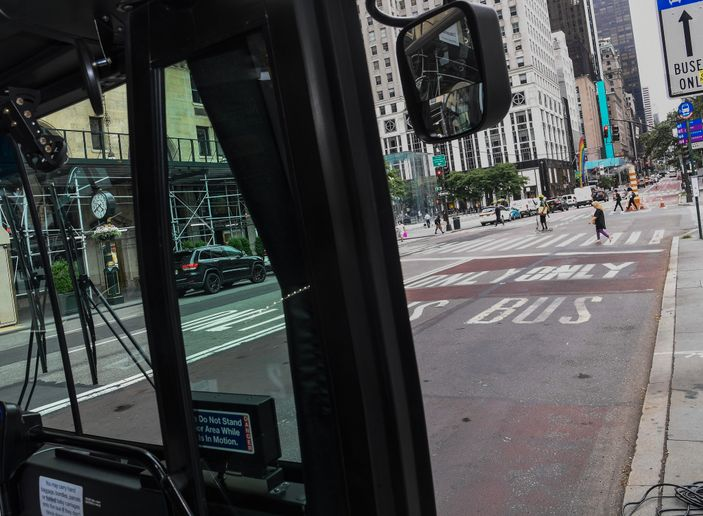 Each bus lane corridor has signage indicating the hours that the bus lanes are operable and that the lanes are camera-enforced. - MTA