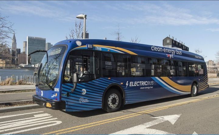 """The """"Green Transit"""" component of the proposal would require public transit systems to purchase only zero-emission buses starting in 2029. - NY MTA"""