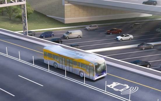 Rendering courtesy of AECOM. Depiction of full-sized, full-speed bus. -