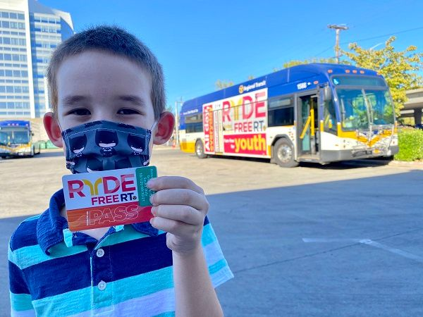 The RydeFreeRT program, which waives student and youth fares on bus, light rail, and SmaRT Ride microtransit service, has been extended through September 30, 2021. - SacRT
