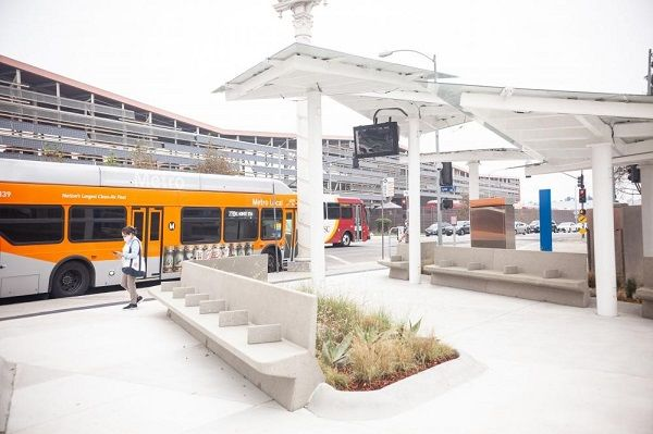 The transit pavilion will service riders on several Metro bus lines, including 68, 70, 71, 78, 79, 378, and 770, which combined, total 6,000 daily boarding passengers. - L.A. Metro