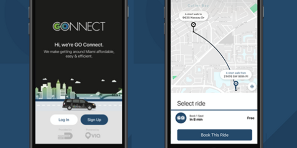 Using the GO Connect mobile app, riders will be able to book rides to connect with Miami-Dade...