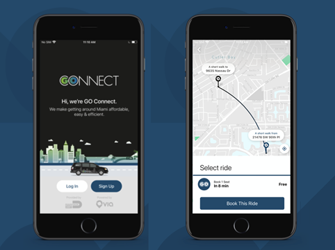 Using the GO Connect mobile app, riders will be able to book rides to connect with Miami-Dade Transit hubs or to travel to nearby destinations. - Via