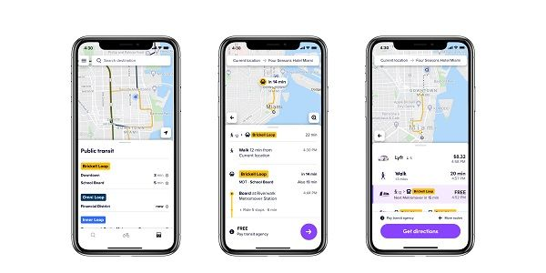 Lyft now shows time, route, and price information from Miami-Dade Transit and Tri-Rail.