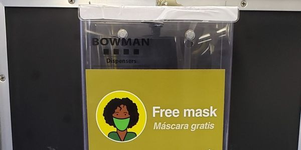 The disposable masks will be available from dispensers placed at the front of the bus, near...