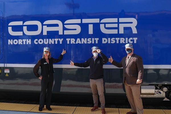 The rollout is part of NCTD's strategic five-year plan that includes purchasing new vehicles for the agency's rail and bus fleets. Shown here (from left to right) is SANDAG Board Chair Catherine Blakespear, U.S. Congressman Mike Levin, and NCTD Board Chair Tony Kranz. - NCTD
