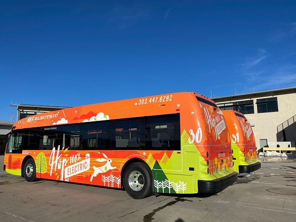 Funding for the electric bus rollout is made possible through FTA and Volkswagen settlement grants and partnership contributions. - City of Boulder