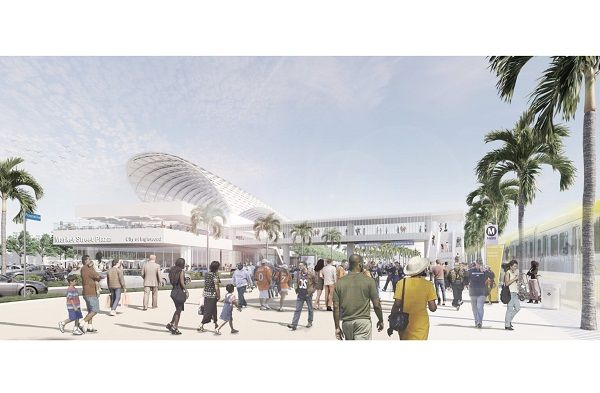 The $1 billion project will consist of a fixed-guideway rail system providing direct connections between L.A. Metro's Crenshaw/LAX Line andInglewood's major housing and employment centers. - Rendering via City of Inglewood