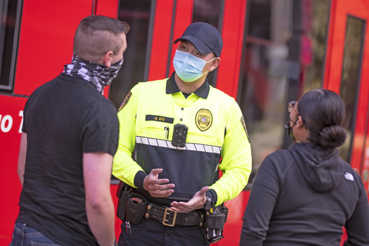 The 64 internal MTS Code Compliance Inspectors will immediately begin wearing their new uniforms, which will include a bright yellow band to the upper body. - San Diego MTS