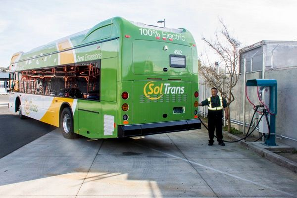 One of theprojects includes developing a countywide electrification transition plan for the five transit agencies in Solano County to convert their fleets to battery-electric buses. Shown here is an all-electric bus and charging unit from Solano County Transit(SolTrans). - SolTrans