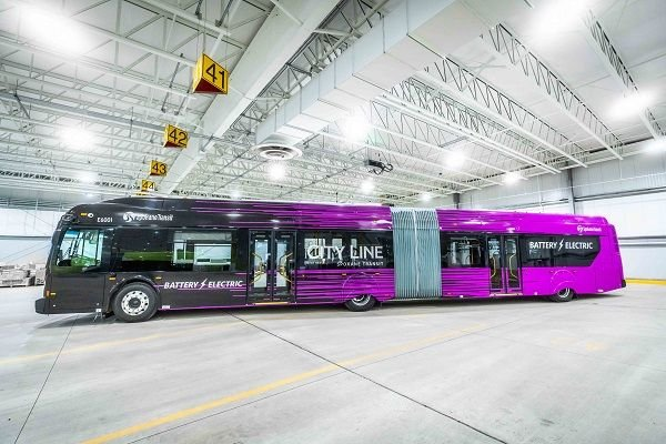 The 60-foot Xcelsior CHARGE transit bus is the first of 10 for the region's City Line Bus Rapid Transit project, which is planned to launch in 2022. - STA