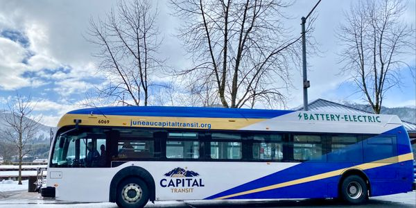 The new bus will be servicing the Mendenhall Express route, which travels via Glacier Highway...