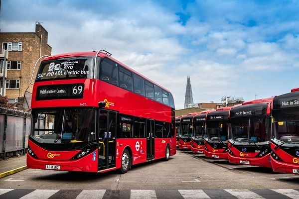 BYD and ADL delivered its 500th double-decker electric bus to Go-Ahead London. The bus is one of 20 that have joined the agency's fleetfor Transport for London route 69 between Walthamstow and Canning Town. - ADL