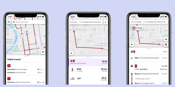 Riders can easily see transit lines and approaching vehicles on the map or they can simply enter...