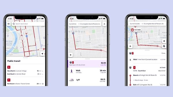 Riders can easily see transit lines and approaching vehicles on the map or they can simply enter a destination for a complete itinerary from start to finish. - Lyft