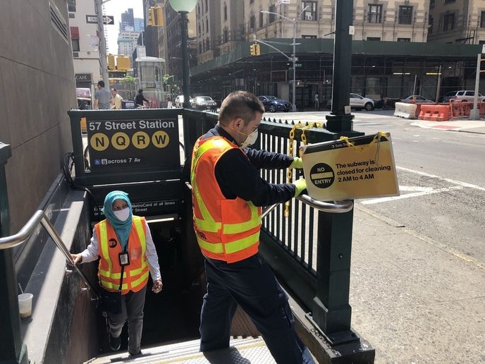 The unprecedented cleaning regimen on subways, buses, paratransit, and commuter rails will continue. - MTA