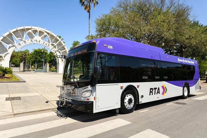 """The new purple and grey buses which don the phrase """"laissez les bons temps rouler,"""" were designed to better maintain the external cleanliness of the buses. - NORTA"""