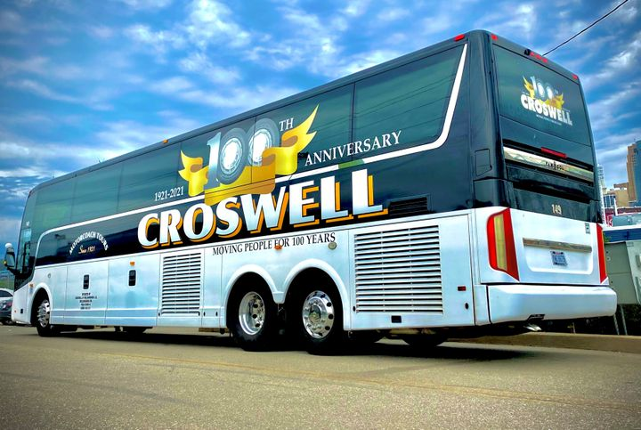 ABC has designed a special bus-wrap featuring Croswell's 100 Year Anniversary logo that will be used on over-the-road coaches as well as in the local market to promote the company's centennial year. - ABC Companies