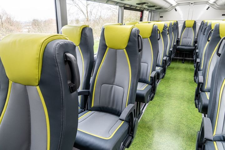 Like all Alexander Dennis double deckers for North America, the 45-foot Enviro500EV CHARGE offers an amazing passenger experience with reclined seating, overhead reading lights and air vents, USB ports, and Wi-Fi and multimedia capability. -