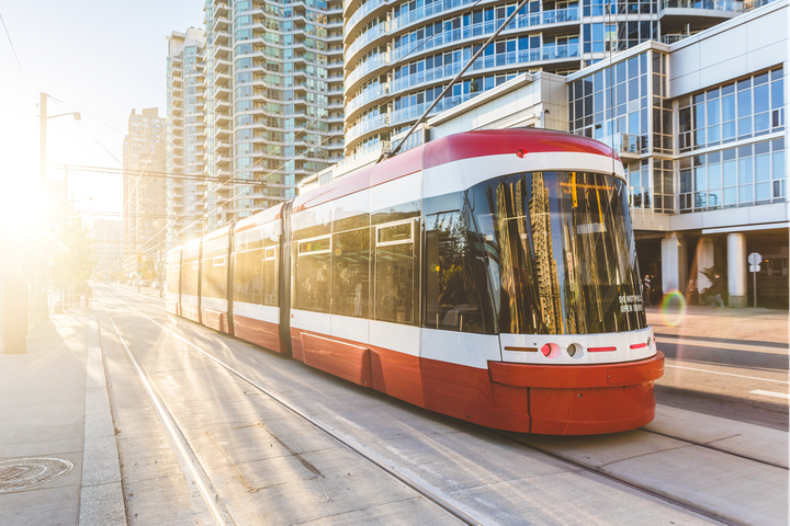 The Flexity LRVs for the TTC are five-module, unidirectional vehicles with all-wheel drive. - Alstom