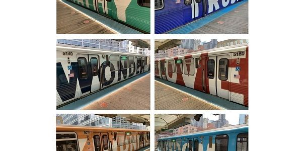 Each pair of railcars features a colorful train wrap, imprinted with two different words on each...