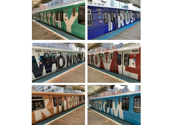 Each pair of railcars features a colorful train wrap, imprinted with two different words on each side of the railcar that denote inclusion, acceptance, and joy. - CTA