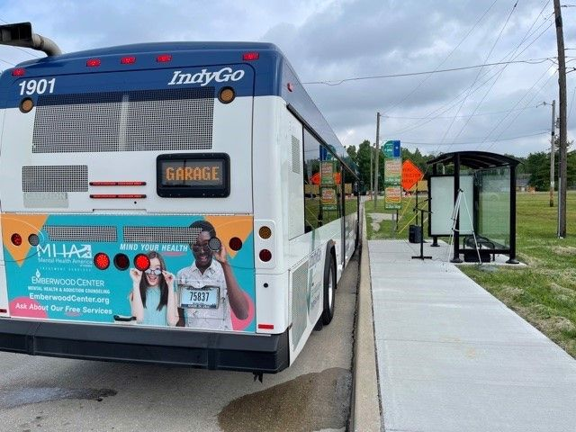 Shown here is IndyGo's newly upgradedbus stop at WestWashington St. and Bridgeport Rd. - IndyGo