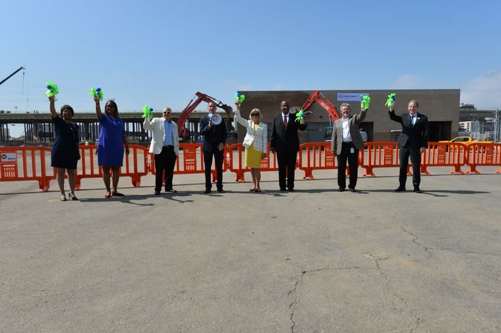 Officials gathered to celebrate the beginning of work on the Airport Metro Connector station that will serve as the transfer point between the Metro system and the LAX Automated People Mover. - L.A. Metro