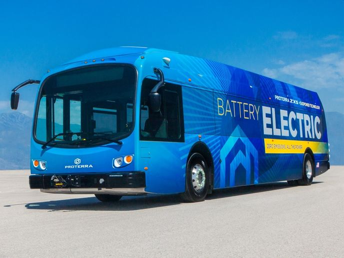 Designed and manufactured in the U.S., Proterra's electric transit buses are equipped with the company's industry-leading battery technology systems. - Proterra