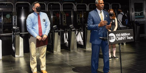 New York MTA officials announced the 100 millionth use of the OMNY tap-and-go fare payment...