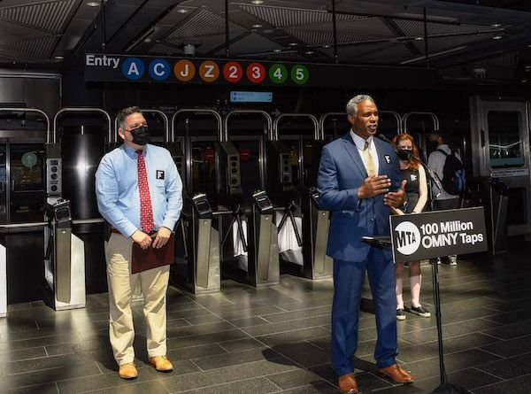 New York MTA officials announced the 100 millionth use of the OMNY tap-and-go fare payment system at a press conference at Fulton Transit Center on July 6. - New York MTA, Marc A. Hermann