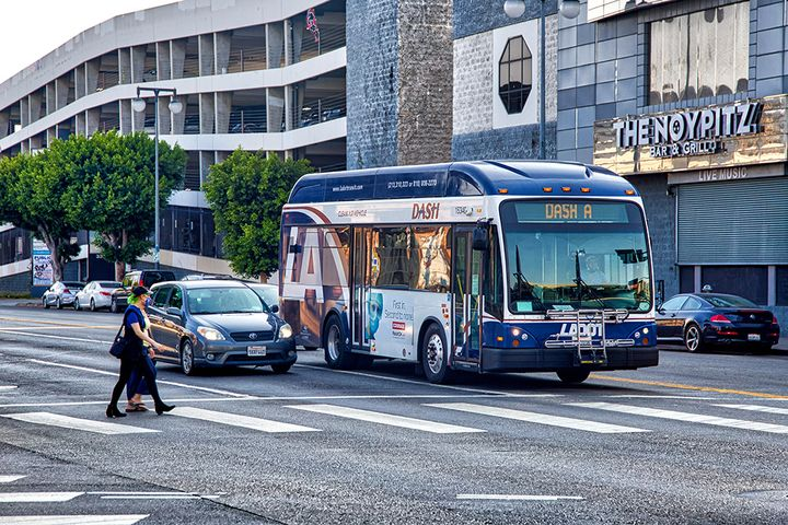 LADOT selected initial routes for the DASH pilot based upon ridership levels, route times, and the proportion of riders who identify as women. - Getty/Laser1987