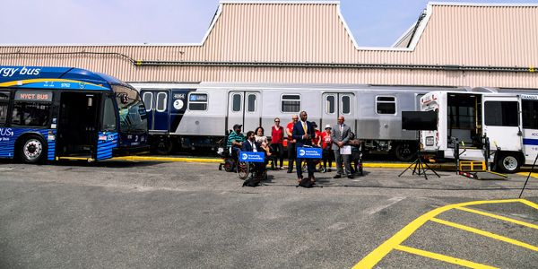 Leaders from New York's MTA gathered at the Coney Island Yard to celebrate the 31st anniversary...