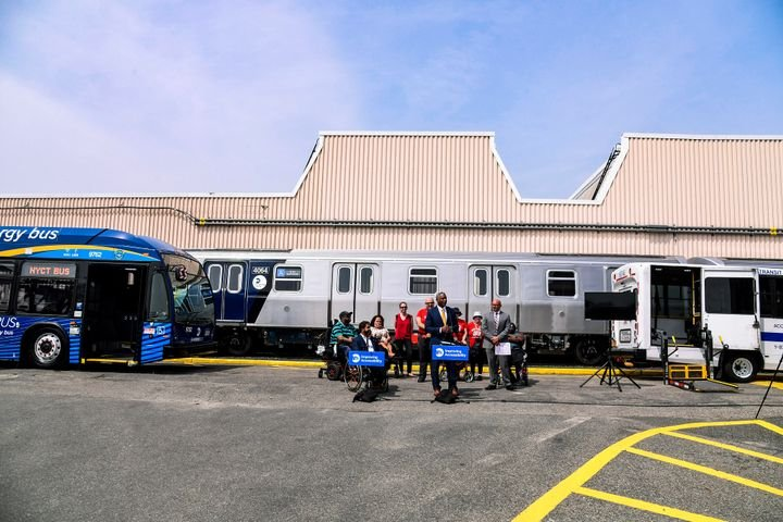 Leaders from New York's MTA gathered at the Coney Island Yard to celebrate the 31st anniversary of the passage of the Americans with Disabilities Act, unveil accessibility enhancements coming to buses and subway cars, and highlight recent accessibility projects. - Marc A. Hermann/MTA