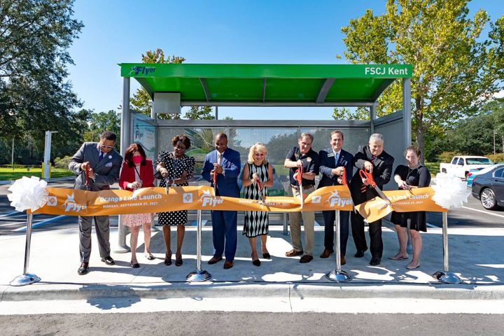 The ribbon cutting was attended by officials from the Jacksonville City Council, Clay County Board of Commissioners, Federal Transit Administration (FTA) Region IV Administrator Dr. Yvette Taylor, JTA officials and Dr. John Avendano, president of Florida State College at Jacksonville. - Photo: JTA