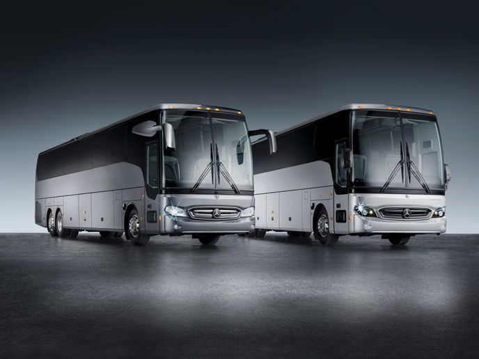 The three-axle high-deck coach is 45-feet long, including energy-absorbing bumper: 45feet, 8-inches, and offered in two model variants — Tourrider Business and Tourrider Premium. - Mercedes-Benz