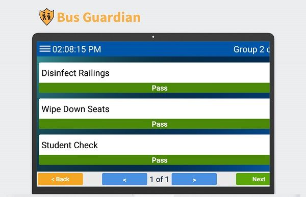 Bus Guardian delivers a hygiene verification system to help administrators monitor and report on real-time sanitization efforts. It also features trip inspection reports. - Photo courtesy CalAmp/Synovia Solutions