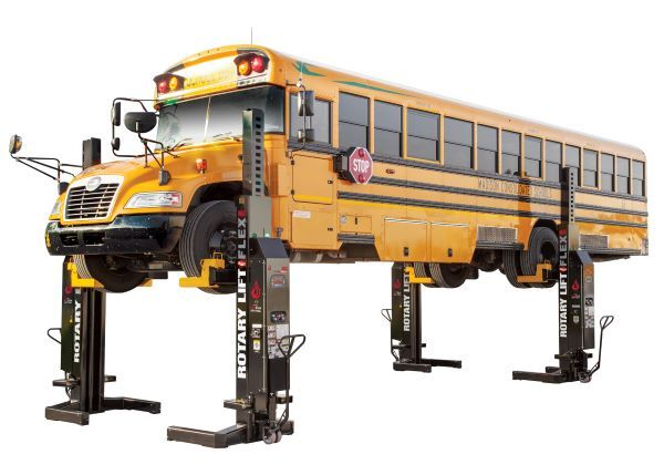 Choosing the right vehicle lift is essential to keeping maintenance costs down. One option, mobile column lifts, offer flexibility. They do not require a dedicated bay, and can be moved wherever they are needed. - Photo courtesy Rotary Lift