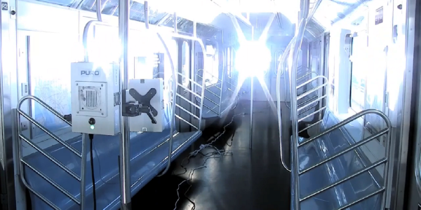 Shown here is a UV-C system on a New York Metropolitan Transit Authority (MTA) train.