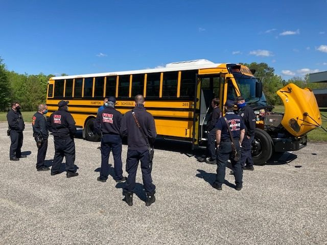 Hampton City (Va.) Schools recently conducted electric bus safety training with about 70 emergency personnel from Hampton Fire and Rescue. - Photo courtesy Hampton City Schools