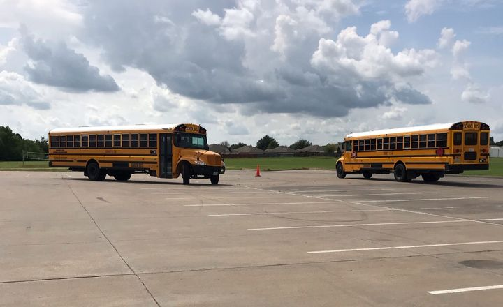 Texas instructor Sharon Huecker conducted a railroad safety training in August at Forney (Texas) Independent School District. The district's transportation team provided the buses for the class where drivers did mock exercises to practice proper safety procedures. - Photo courtesy Sharon Huecker