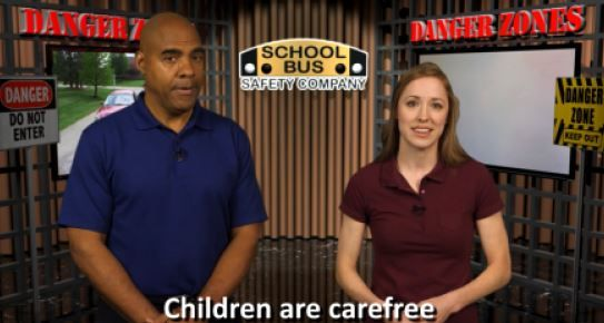 School Bus Safety Co. offerstraining courses that reinforce specific driver safety practices, such as defensive driving and how to eliminateaccidents in the danger zone.A screenshot from one of the training videos is shown here. -