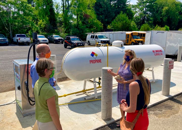 Washington County Schools held a ribbon cutting ceremony for its five new propane school buses in August 2020. Since then, the district added six more, for a total of 11 propane buses in its fleet. - Photo courtesy Washington County Department of Education