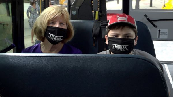 State Superintendent Molly Spearman attended the dedication ceremony and joined Jack for a quick ride on the new bus. - Photo courtesy Greenville (S.C.) County Schools