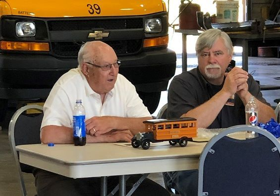 Marty Maier, the head mechanic at Hilton (N.Y.) Central School District (shown right), has retired after 26 years. He came aboard after his father, Charlie Maier (left), retired. - Photo courtesy New York Bus Sales
