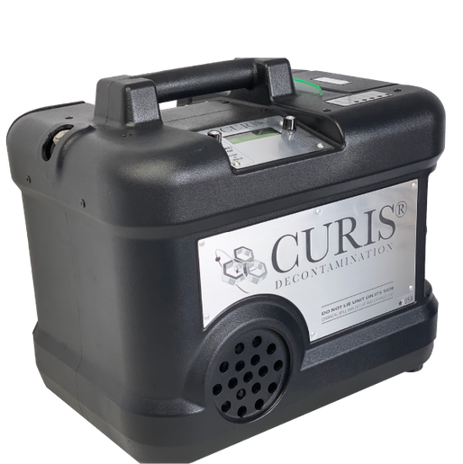The CURIS Decontamination System is a portable, hydrogen peroxide-based fogging system capable of disinfecting a room or enclosed area via patented pulse technology. - Photo courtesy CURIS System