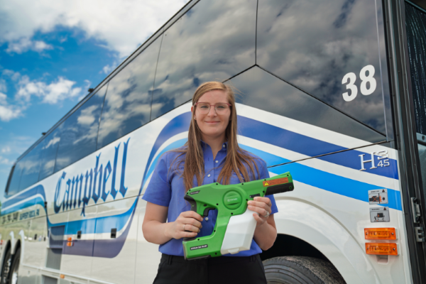 EZ DISSAN will now use Victory Innovations's cordless electrostatic handheld sprayers along with its disinfection solution for ground transportation vehicles. - Photo courtesy EZ DISSAN