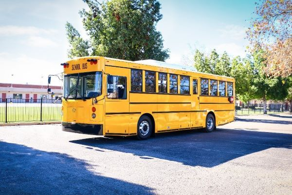 Three California school districts ordered a total of 10 GreenPower Synapse 90 electric school buses. - Photo courtesy GreenPower Motor Co.